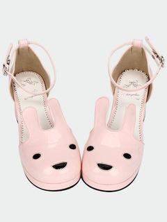 sandalias de corazón rosa forma Lolita correa tobillo plataforma esponjoso Dulce FZAE4wqnx