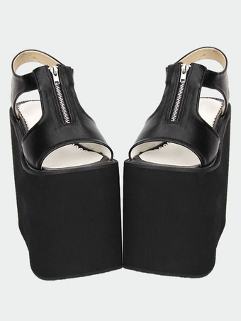 38cfd17ab1fcd Matte Black White Lolita Sandals High Platform Zipper Designed