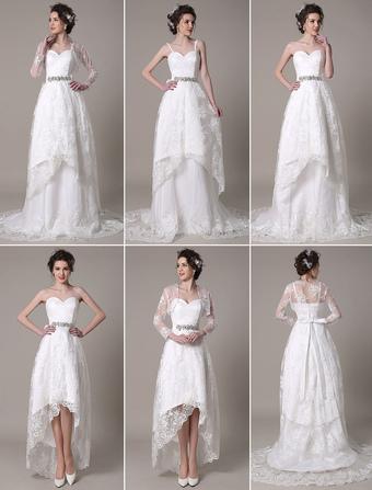 Detachable Wedding Dress Sweetheart A-Line Rhinestone Sash Court Train Bridal Dress With Bow Milanoo