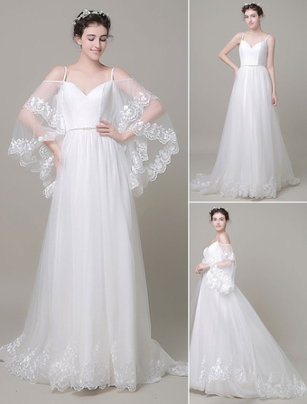 Boho Beach Wedding Dress Detachabel Sleeves Court Train A-line Off-The-Shoulder Lace Tulle Bridal Gown  Milanoo