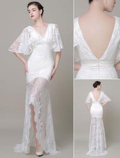 Boho Wedding Dress Lace Illusion Train Backless V-Neck Court Train High-Low Mermaid Evening Dress Milanoo