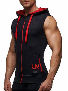 Sleeveless Hoodie Zip Up Hooded Sweatshirt Jacket For Men