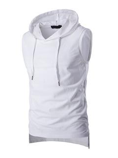 Hooded Tank Sleeveless T Shirt Sweatshirt For Men In Black/White/Gray