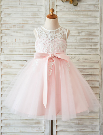 Flower Girl Dress Lace Blush Pink Tutu Pageant Dress Toddlers Ribbon Sash Illusion Kids Party Dresses