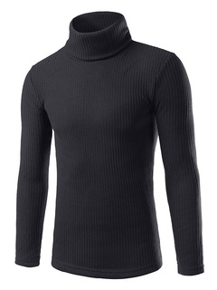 Men's Roll Neck Sweater Pullover Slim Fit Knitwear In Gray/Burgundy/Black/White