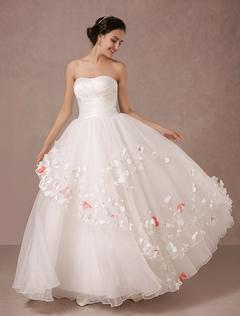 Strapless Wedding Dress Satin Organza Bridal Gown Milanoo