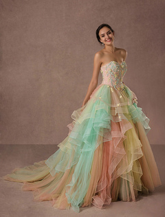 38909c09e0 Rainbow Quinceanera Dress Tulle Lace Pageant Dress Applique Beading A-line  Luxury Princess Dress With
