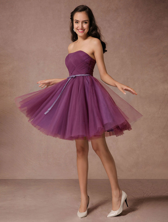 Short Bridesmaid Dress Plum Tulle Strapless Homecoming Dress Short Prom Dress Backless Woven Cocktail Dress With Sash