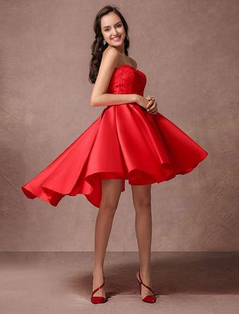 52ce384ba41e High-Low senza spalline in raso Homecoming Dress Abito corto da sera  scollato Cocktail vestito