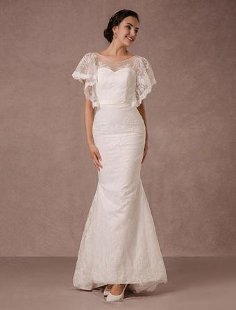 Summer Wedding Dresses 2018 Lace Mermaid Backless Bridal Gown Illusion Neckline Court Train Beach With Detachable Ribbon Sash Milanoo