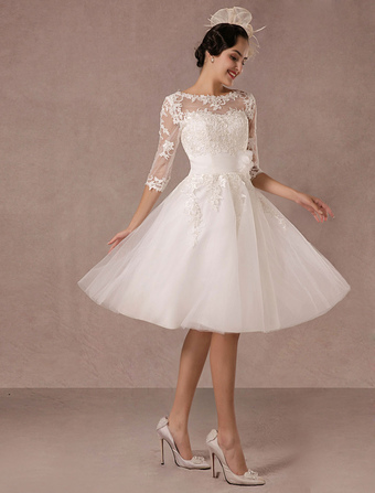 9d2e5caeaaa83 Short Wedding Dress Vintage Lace Applique Long Sleeves Tea length A line  Tulle Bridal Gown With