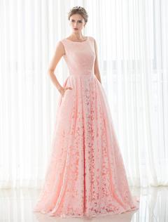 148b95082148d ピンクのウェディング ドレス レース a ライン コート列車ノースリーブ編み上げブライダル ドレス ハンド ポケットと