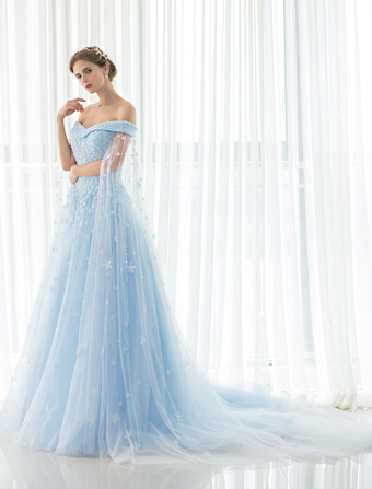 fee55c16311 Blue Wedding Dress Lace Flower Applique Off-the-shoulder Tulle Cape Chaple  Train A