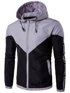 Men's Lightweight Jacket Hooded Two Tone Long Sleeve Zipper Windbreaker Jacket With Letters Print