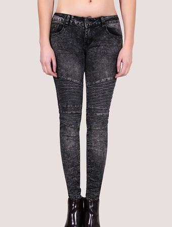 Skinny Washed Crumple Jeans Women's Pleated Chic Pants