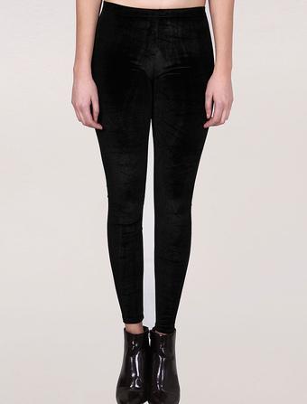 Black Velvet Leggings Women's Skinny Elastic Pants