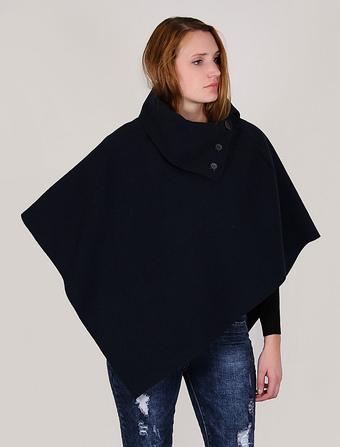 Women Cape Coat Poncho Navy Winter Coat Turtleneck Mentel Cloak