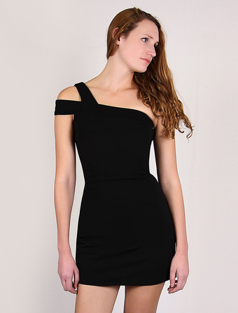 Black Mini Bodycon Dress Elastic One-shoulder Sheath Party Dress(Made In Italy)