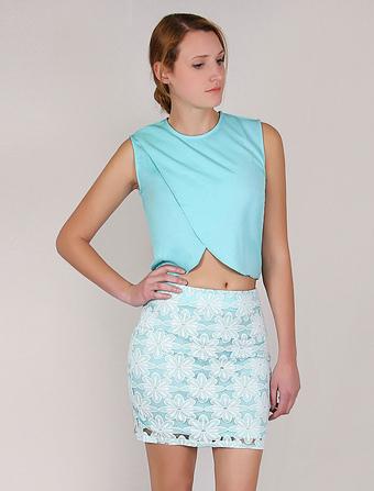 Chiffon Crop Top Women's Blue Wrap Sleeveless High Waist Blouse