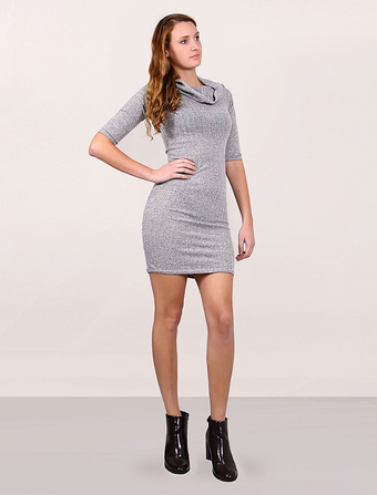 Knit Sweater Dress Women's Bodycon Dress Half Sleeves Midi Dress With Turtleneck And Conversible Off-the-shoulder Collar