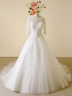 Lace Wedding Dress Backless Bateau Chapel Train Bridal Gown A-line Beading Half Sleeves Luxury Bridal Dress
