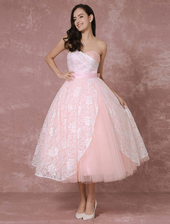 Blush Wedding Dress Short Lace Bridal Gown Pink Ball Gown Tulle Sweetheart Strapless Backless Tea-length Vintage Bridal Dress Milanoo