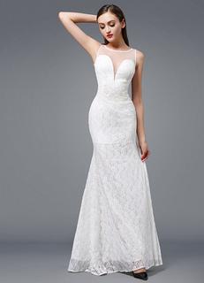 Beach Wedding Dress Ivory Lace Evening Dress Sexy Plunging Mermaid Sleeveless Floor-length Party Dress