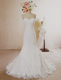 Mermaid Wedding Dress Lace Pleated Sweetheart Strapless Bridal Gown Court Train Backless Bridal Dress