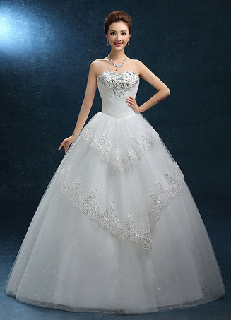 Ball Gown Wedding Dress Lace Strapless Sweatheart Bridal Gown Beading Floor-length Backless Bridal Dress