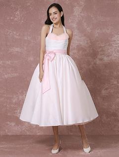 Vintage Wedding Dress Pink Tulle Short Bridal Gown Halter Satin Ribbon Sash Ball Gown Tea-length Bridal Dress Milanoo