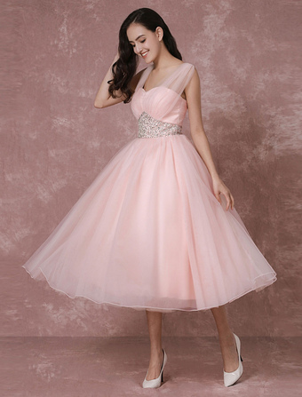 Tulle Wedding Dress Pink Bridal Dress Short Backless A-line Cocktail Dress Milanoo