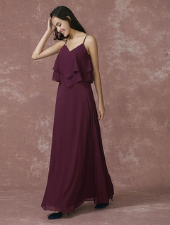 Plum Bridesmaid Dress Maxi Chiffon Wedding Party Dress Spaghetti Backless Ankle-length A-line Occasion Dress