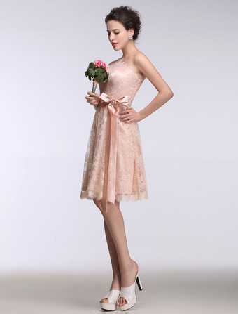Pink Bridesmaid Dress Lace One Shoulder Short Prom Dress Sleeveless A Line Ribbon Bow Sash Knee Length Party Dress