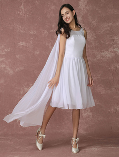 White Bridesmaid Dress Chiffon A Line Knee Length Wedding Party Dress With Side Draping