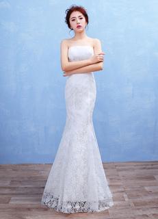 Mermaid Boho Wedding Dress Lace Strapless Maxi Bridal Gown White Backless Floor Length Bridal Dress
