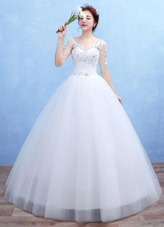 Tulle Wedding Dress Sweetheart Illusion Backless Maxi Bridal Gown Lace Applique Half Sleeve Ball Gown Bridal Dress
