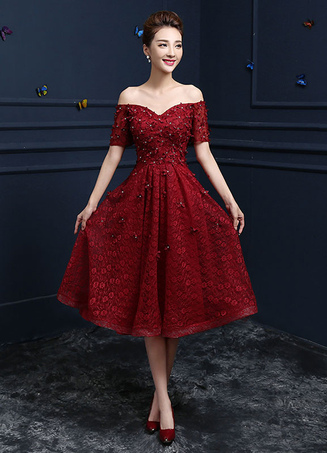 Lace Cocktail Dress Burgundy Flower Beading Prom Dress Off The Shoulder  Sweetheart Short Sleeve A Line a068df300