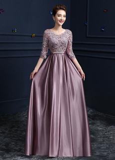 915ac99363e Кружевное вечернее платье атласная круглая шея с половиной рукавом мама  платья невесты Камея розовая линия длиной