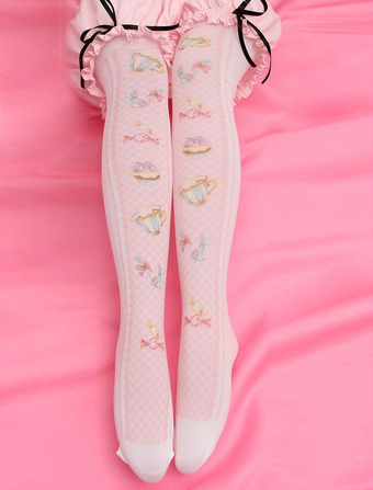 0bcac40f1 Sweet Lolita Stockings Pink Printed Lolita Knee High Socks
