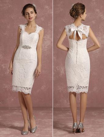 Облегающие свадебные платья до колен
