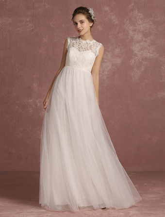 Summer Wedding Dresses 2018 Lace Empire Waist Bridal Gown Illusion Sleeveless Round Neck A Line Floor