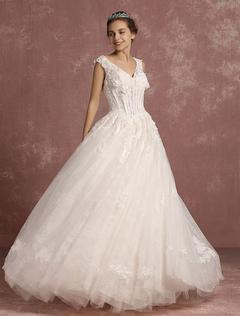 Princess Wedding Dress Lace V Neck Boned Bridal Gown Backless 3D Flowers Sleeveless Floor Length Ball Gown Bridal Dress