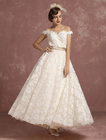 Lace Wedding Dress Vintage Sweetheart A Line Bridal Gown Off The Shoulder Sleeveless Ankle Length