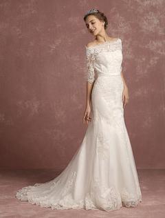 Mermaid Wedding Dress Lace Half Sleeve Bridal Gown Bateau Beaded Ivory Bridal Dress With Chapel Train
