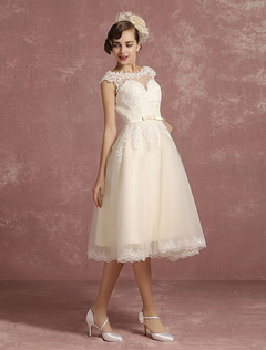 Lace Wedding Dress Short Illusion Vintage Bridal Dress Backless Chains A Line Sleeveless Crewneck Bridal Dress With Bow Sash Milanoo