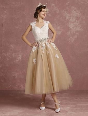 Vintage Wedding Dress Short Champagne Lace Applique Bridal Gown Queen Anne Neck Keyhole Bridal Dress Tea Length Milanoo