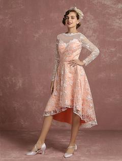 Lace Wedding Dress Pink High Low Vintage Bridal Gown Illusion Long Sleeve A Line V Back Short Bridal Dress Milanoo