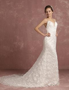 Summer Wedding Dresses 2018 Lace Boho Cathedral Train Bridal Gown Mermaid Spaghetti Straps V Neck Backless Bridal Dress