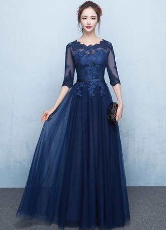 Blue Prom Dress 2018 Long Lace Applique Evening Dress Tulle Dark Navy Sash Floor Length Party Dress