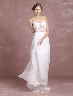 Summer Wedding Dresses 2018 Chiffon Bridal Gown Backless Spaghetti Strap Lace Applique Sleeveless Sweep Train Bridal Dress Milanoo
